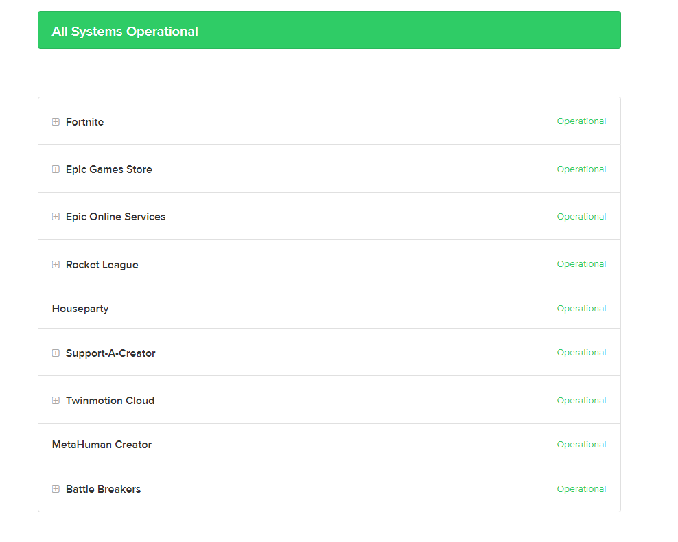 Check Epic Games Server Status