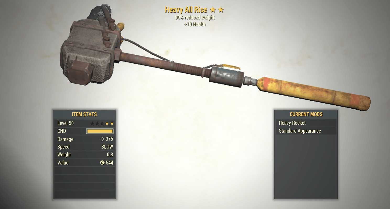 best fallout 76 weapons heavy all rise weapon